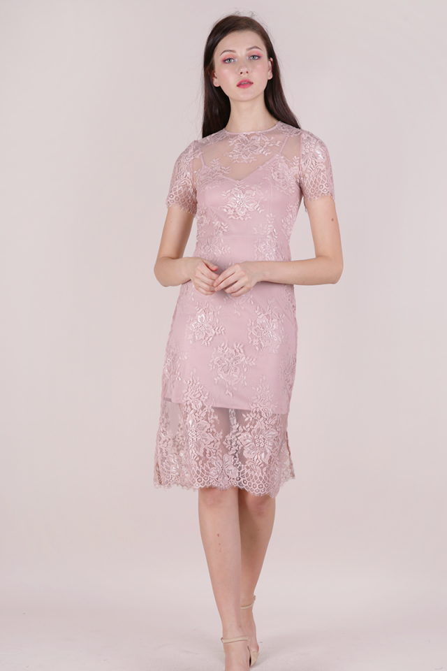 Veneta Lace Sleeved Dress (Pink)