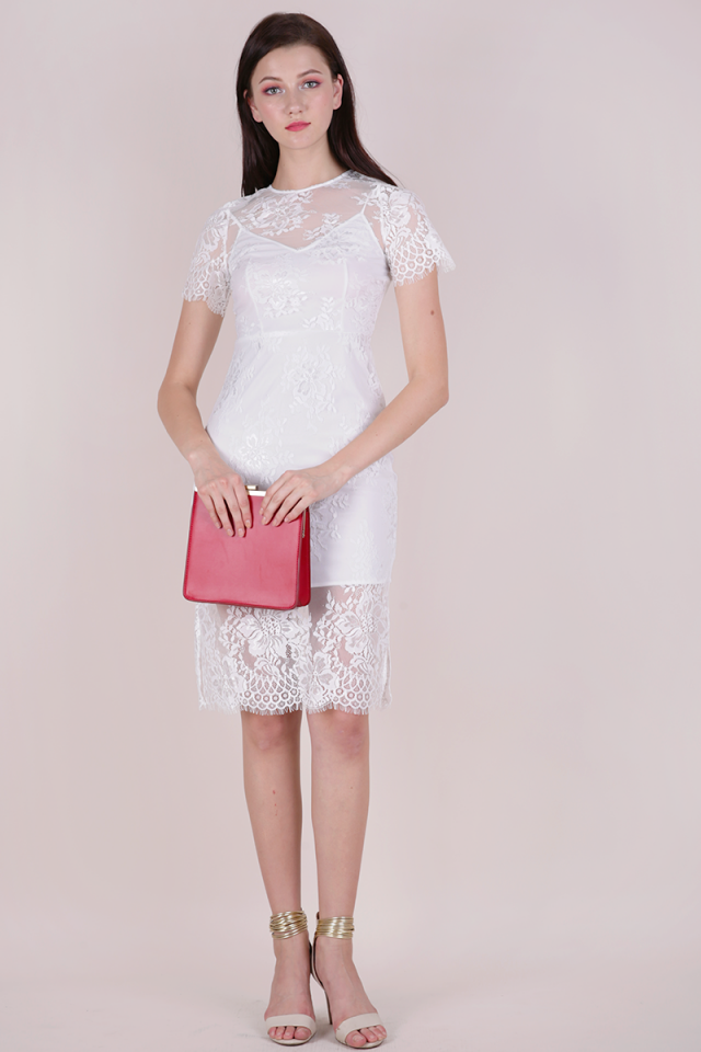 Veneta Lace Sleeved Dress (White)