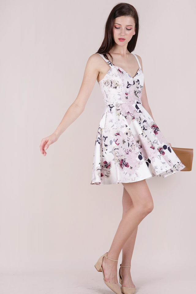 Dolce Pleat Front Dress (White Florals)