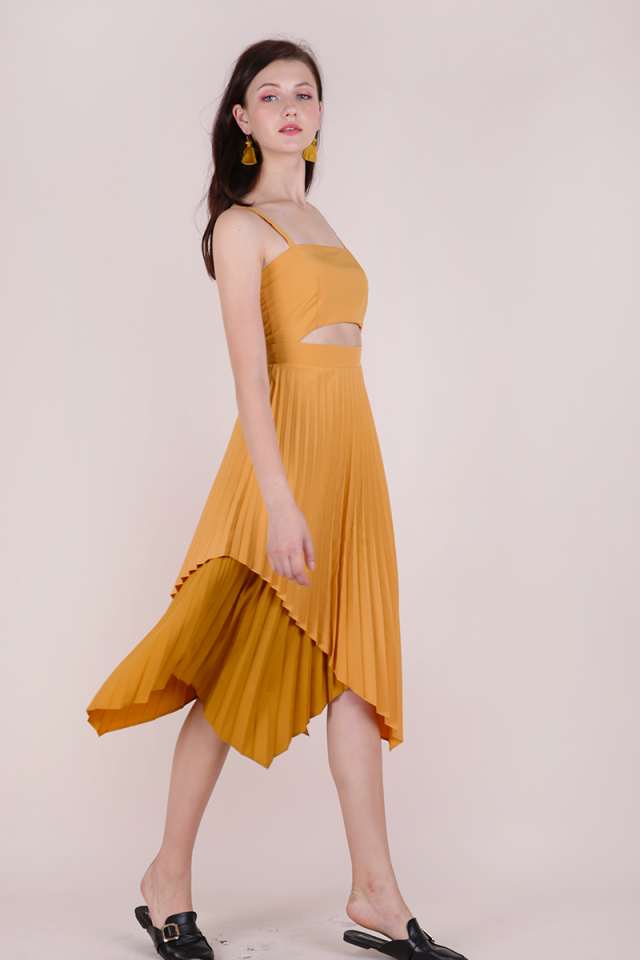 Emilee Pleated Dress (Mustard)