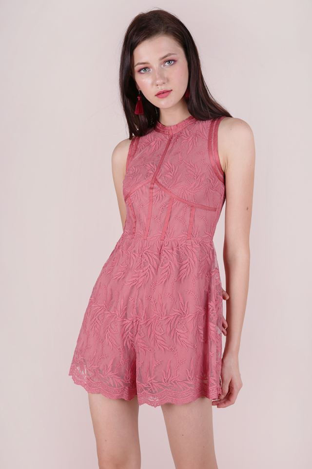 Kiko Mesh Embroidery Romper (Rose)