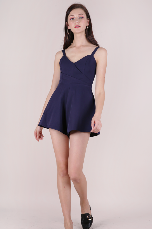 Lori Pleat Front Romper (Navy)