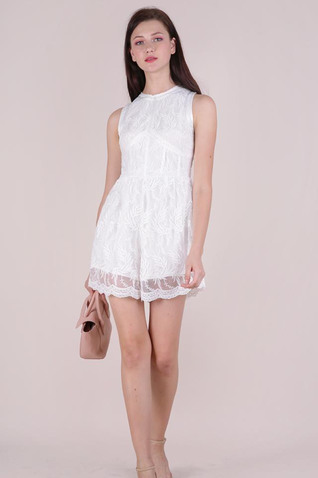 Kiko Mesh Embroidery Romper (White)