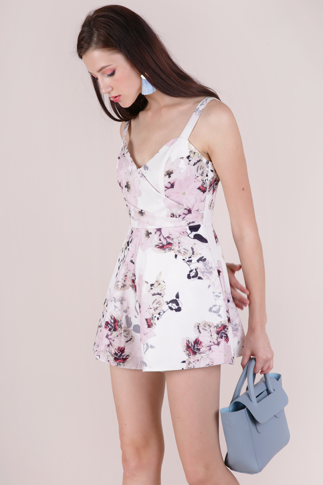 Lori Pleat Front Romper (White Florals)