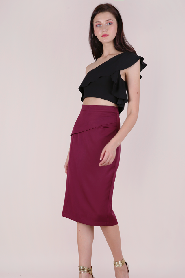 Marco Pencil Skirt (Berry)