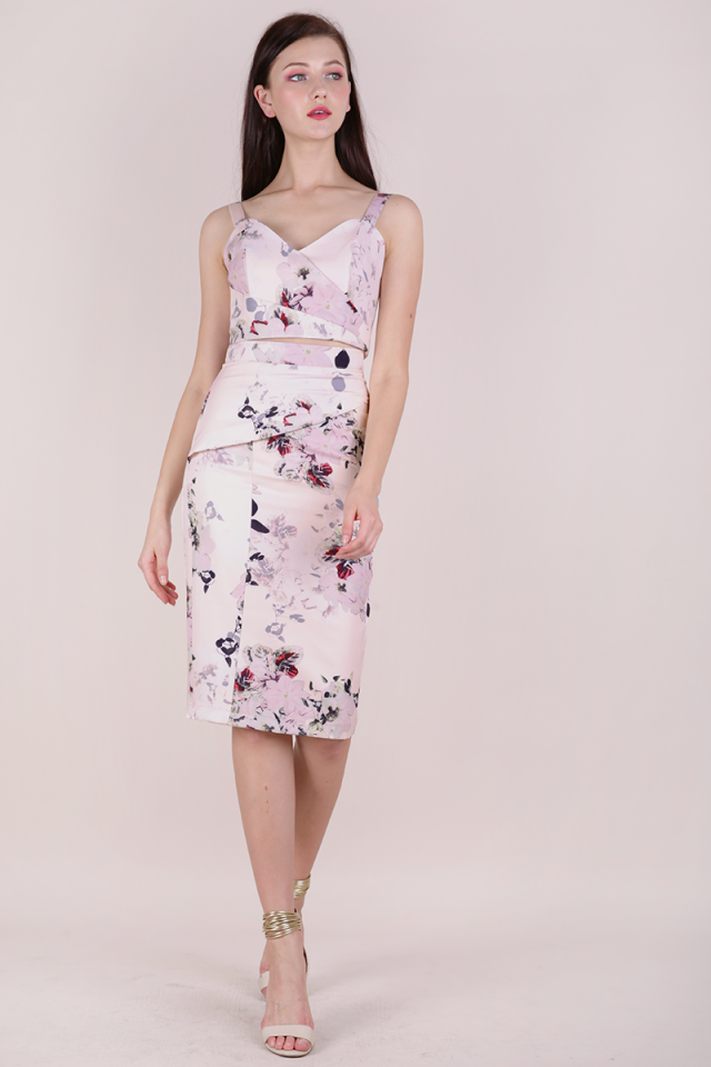 Marco Pencil Skirt (Pink Florals)