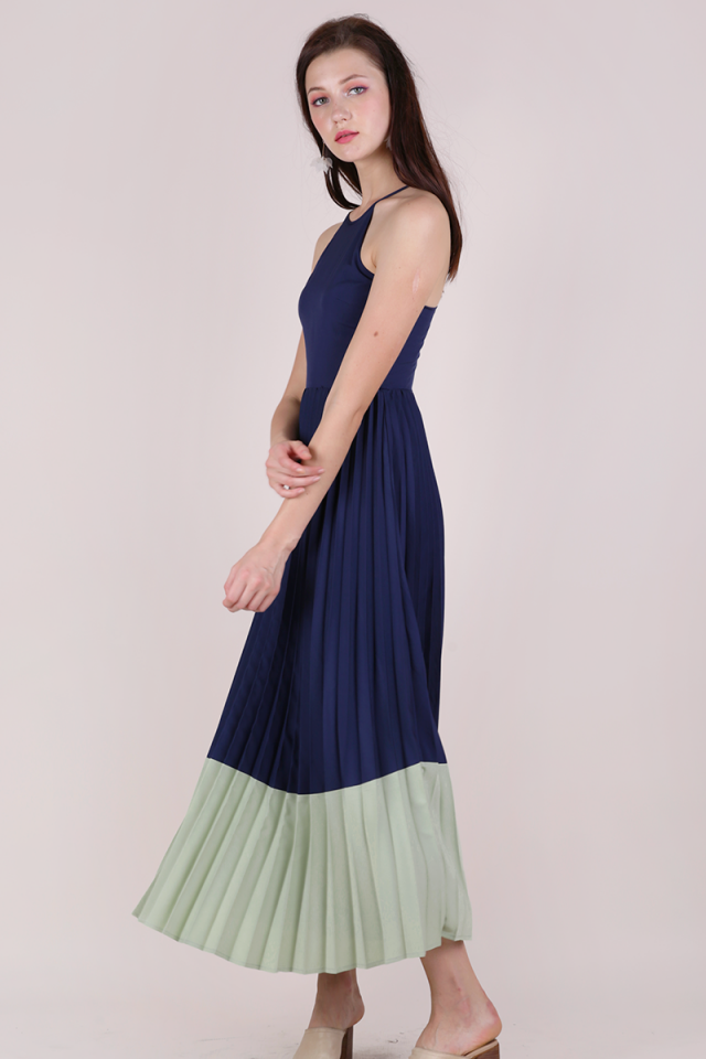 Abe Colourblock Maxi Dress (Navy/Sage Green)