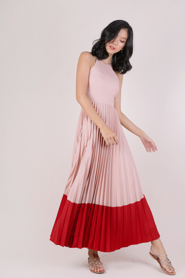 Abe Colourblock Maxi Dress (Blush/Scarlet)