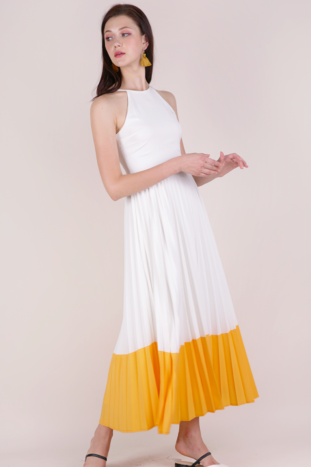 Abe Colourblock Maxi Dress (White/Sunshine)
