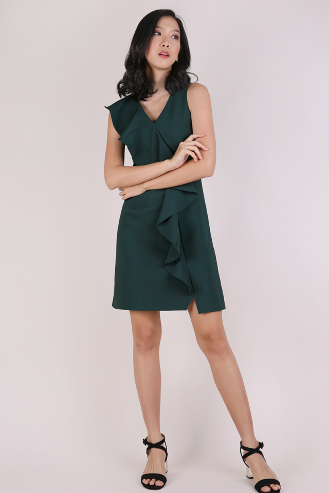 Felly Ruffles Dress (Forest Green)