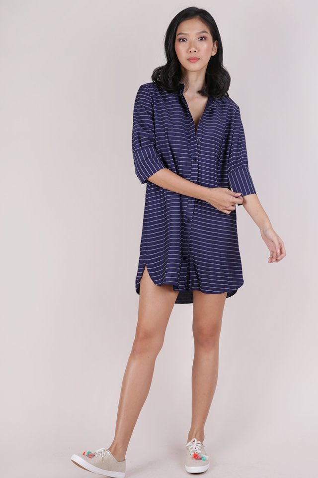 Gillman Shirt Dress (Dark Blue Stripes)