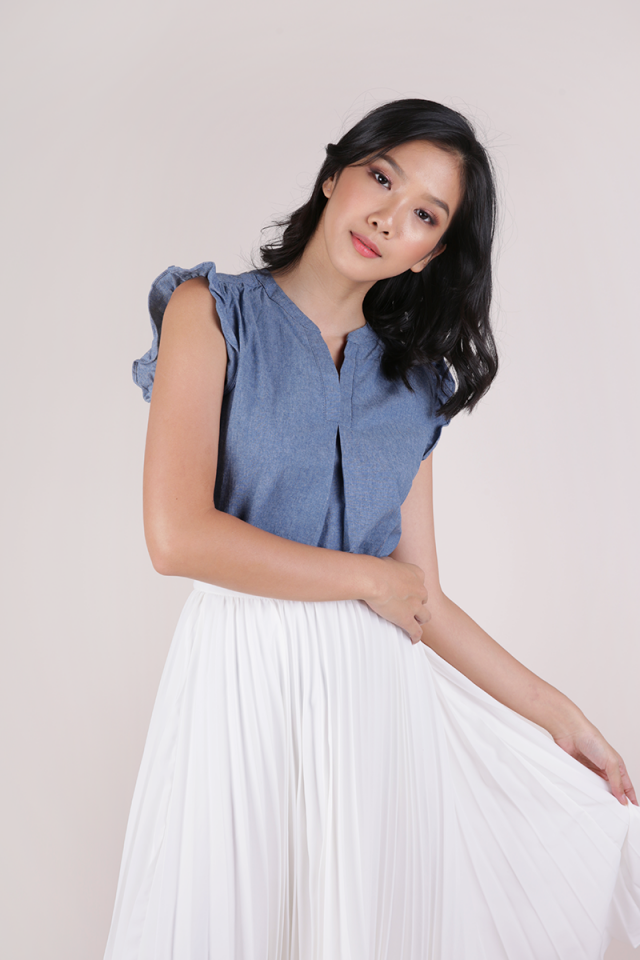 Porter Ruffle Blouse (Mid Blue)