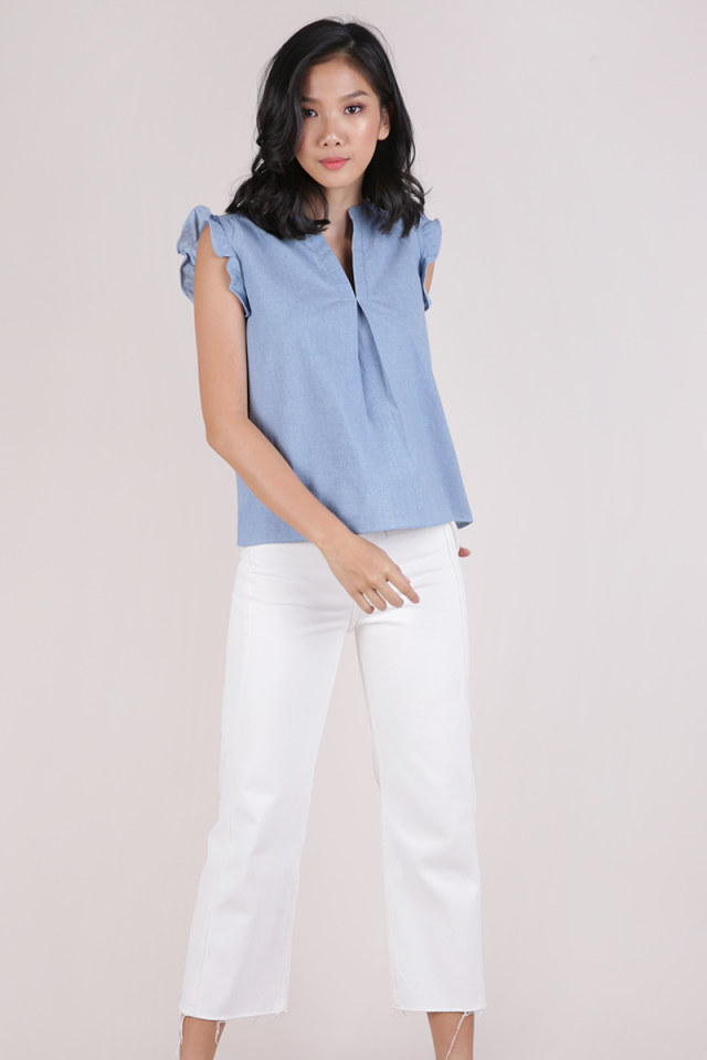 Porter Ruffle Blouse (Light Blue)