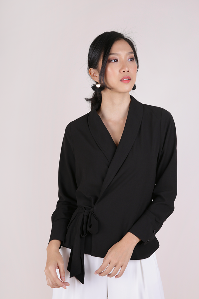 Rue Wrapped Front Blouse (Black)