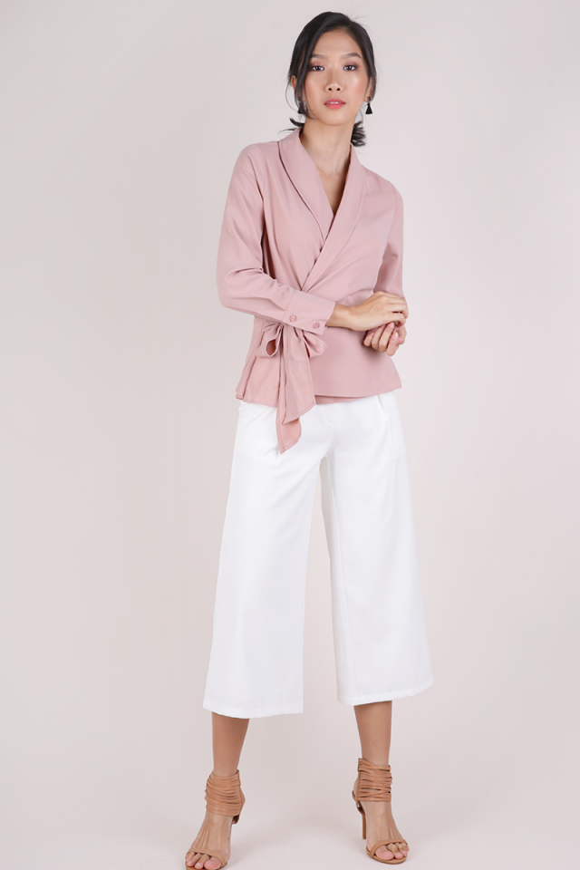 Rue Wrapped Front Blouse (Blush Pink)