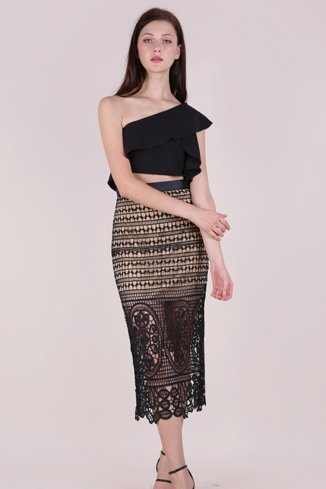 Greta Crochet Midi Skirt (Black)