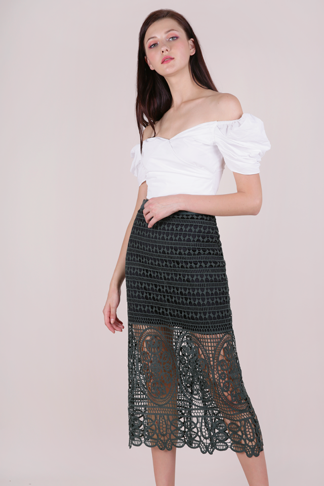 Greta Crochet Midi Skirt (Forest Green)