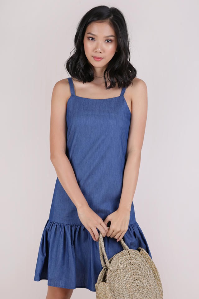 Vivi Drop Hem Dress (Dark Blue)