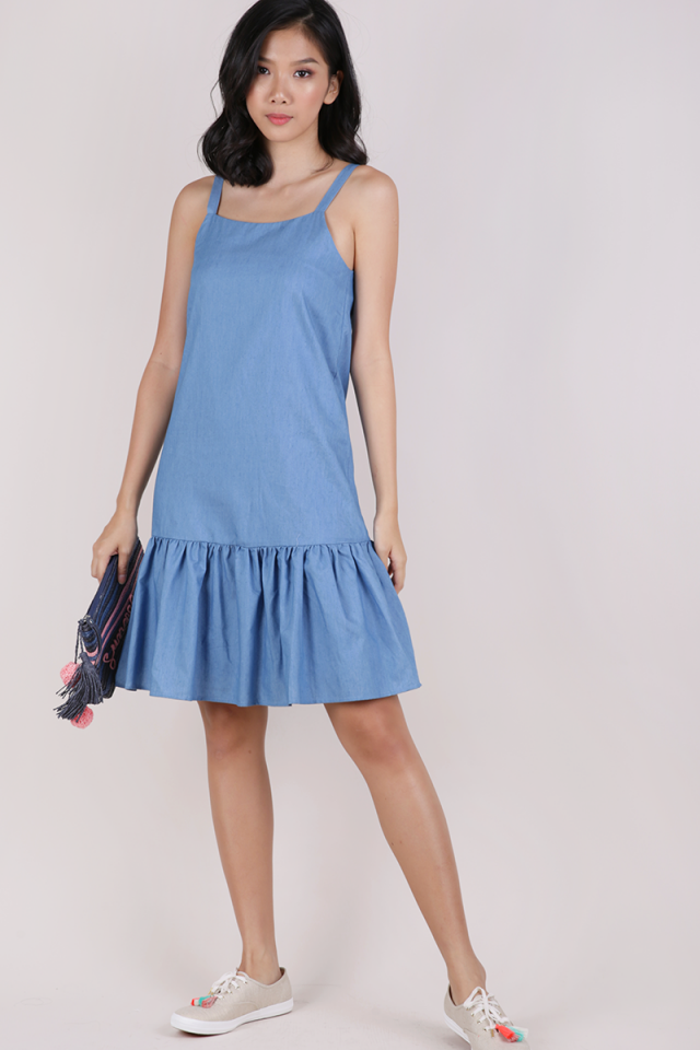 Vivi Drop Hem Dress (Light Blue)