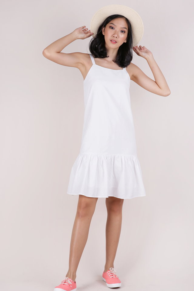 Vivi Drop Hem Dress (White)