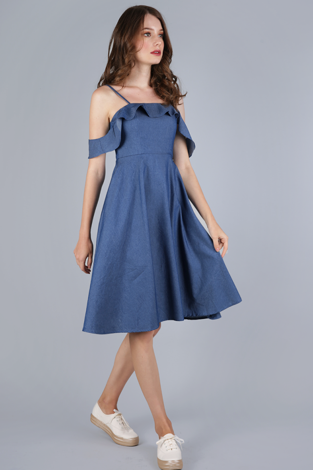 Alexis Ruffles Dress (Dark Blue)