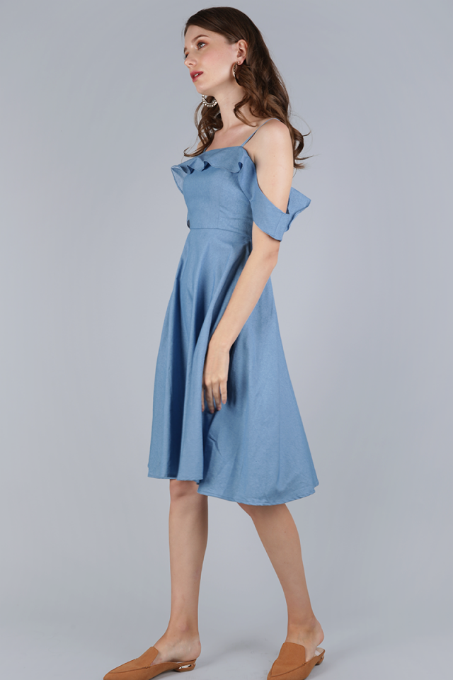 Alexis Ruffles Dress (Light Blue)