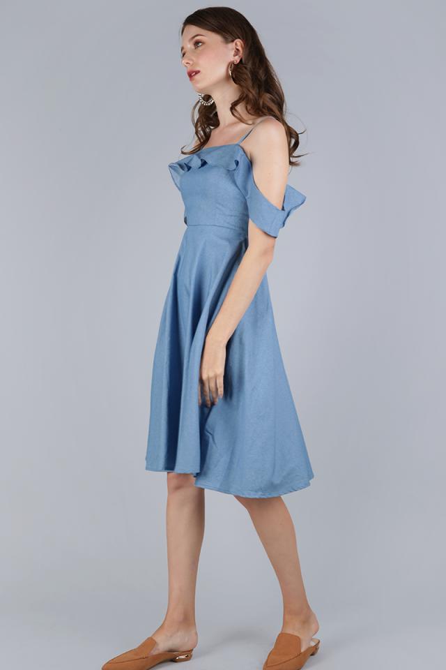 Alexis Ruffles Dress (Light Blue)