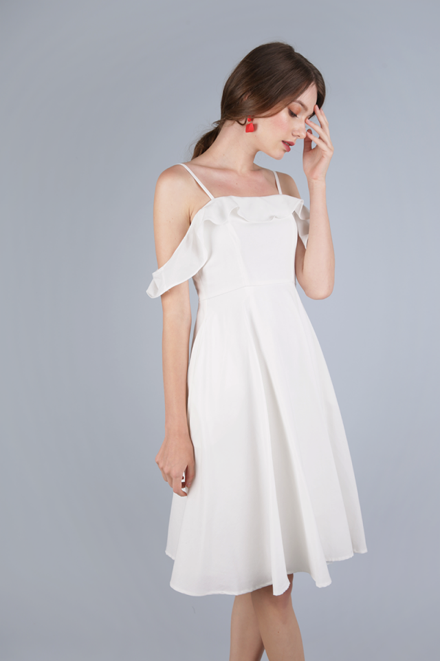 Alexis Ruffles Dress (White)