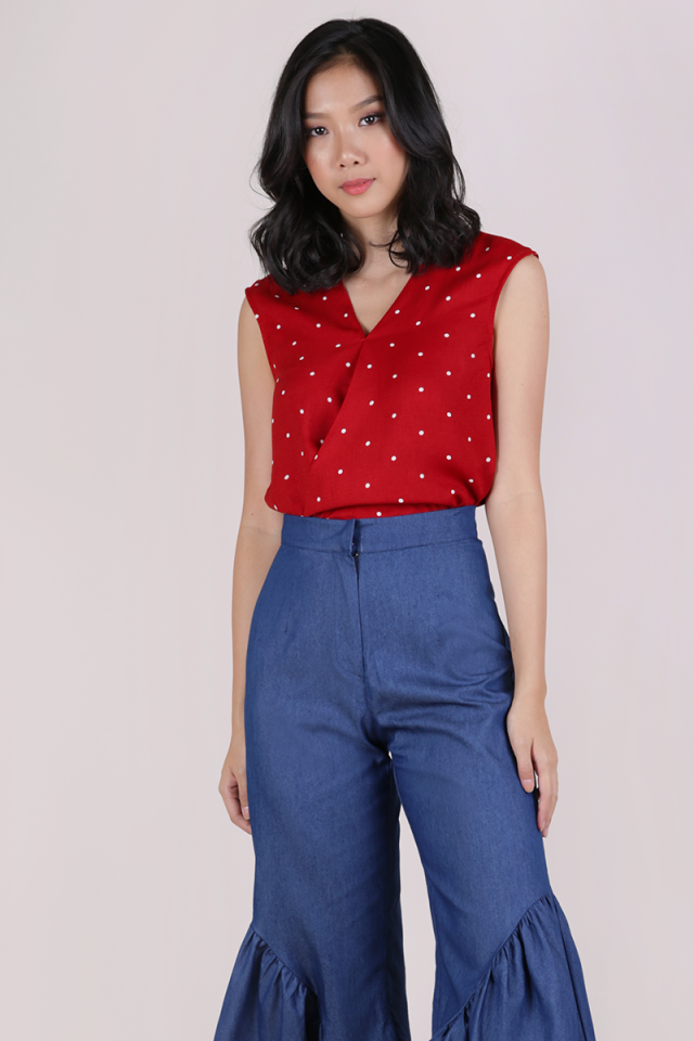 Noelle Overlap Blouse (Red Polka Dots)