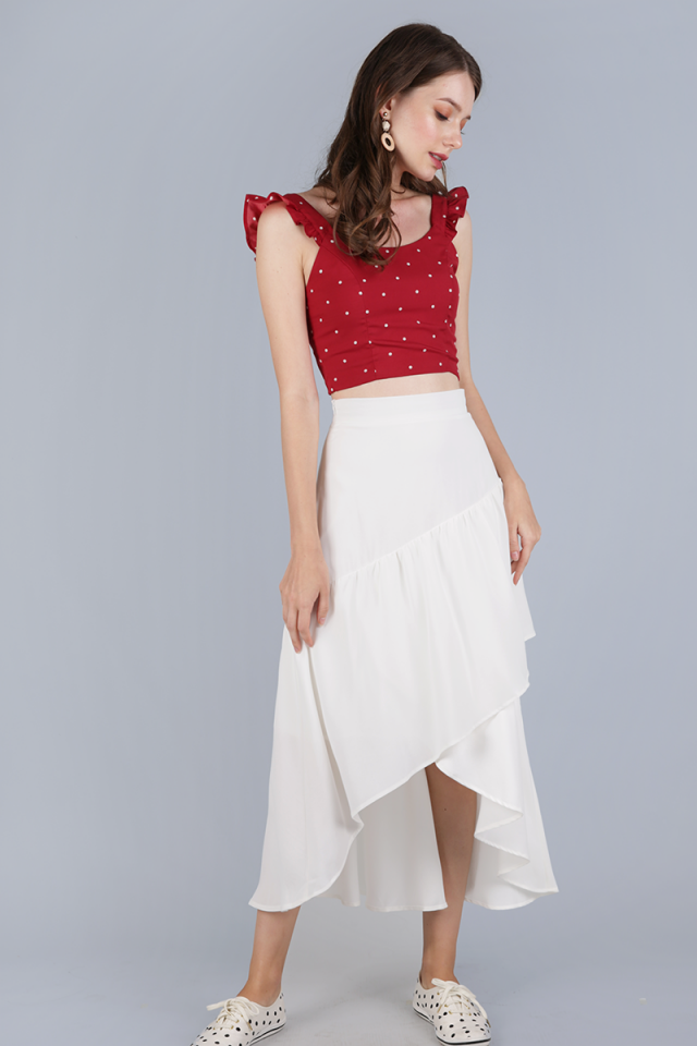 Davina Ruffles Top (Red Polka Dots)