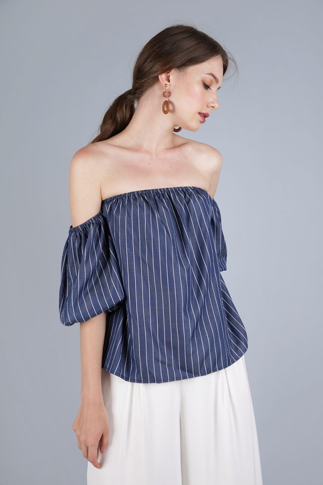 Giselle Off Shoulder Top (Navy Stripes)