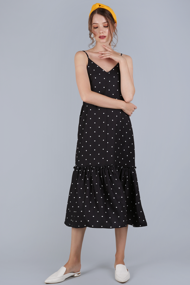 Holly Drop Hem Midi (Black Polka Dots)