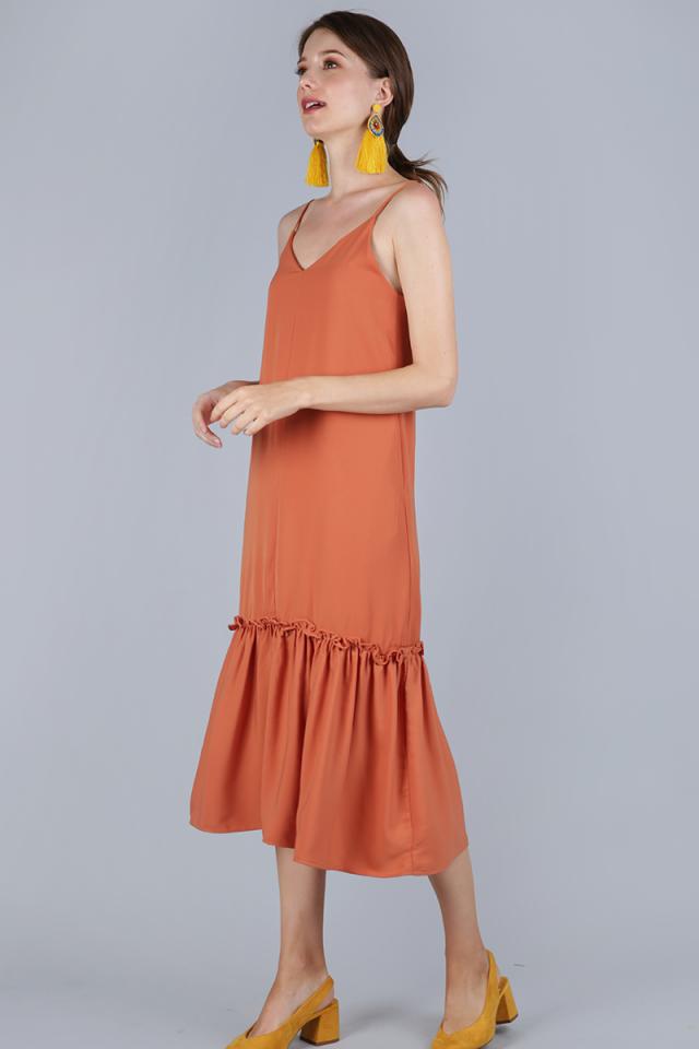 Holly Dip Hem Dress (Muted Orange)