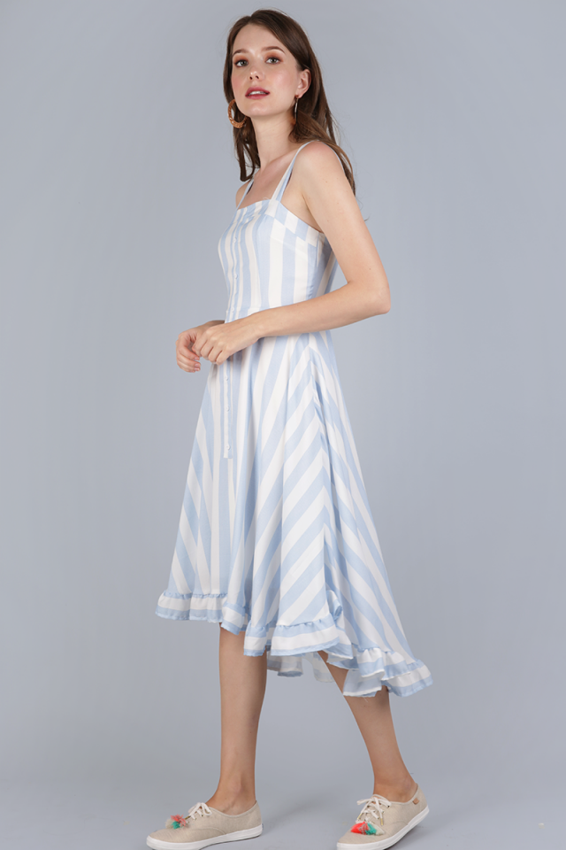 Lea Ruffled Hem Dress (Light Blue Stripes)