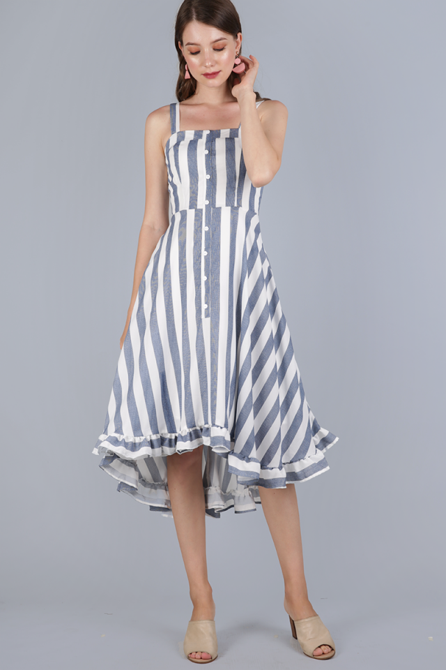 Lea Ruffled Hem Dress (Dark Blue Stripes)