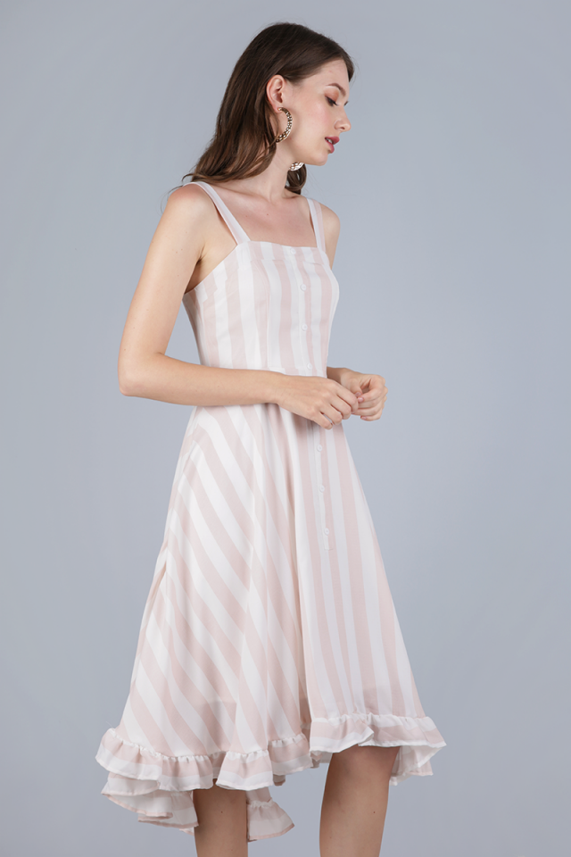 Lea Ruffles Hem Dress (Pink Stripes)