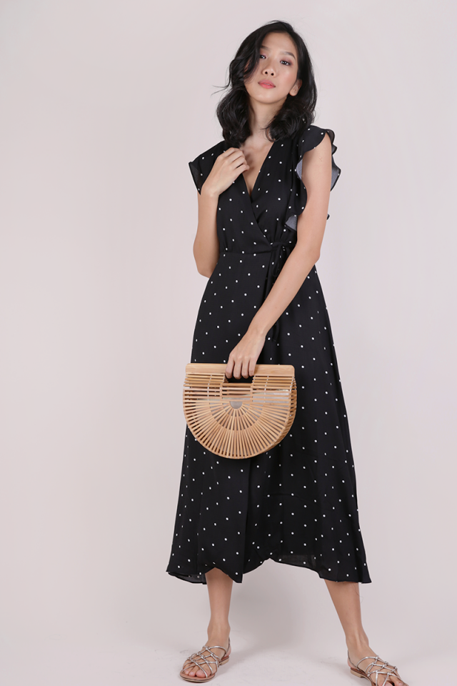 Judith Wrap Front Maxi Dress (Black Polka Dots)