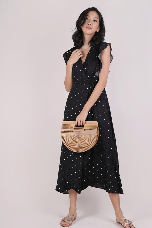 Judith Wrap Front Maxi Dress (Black Polka Dots)
