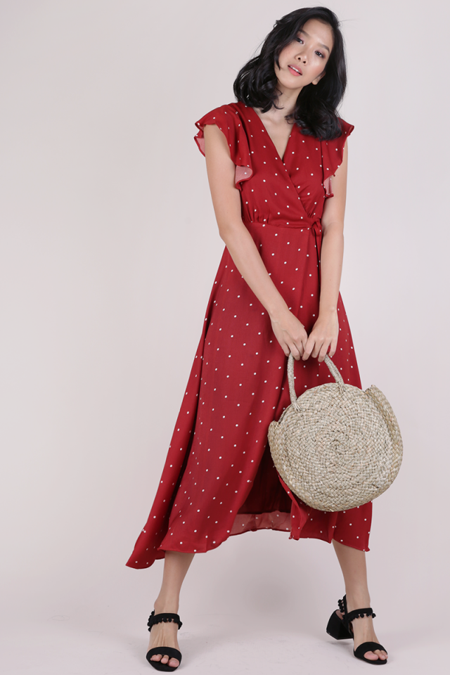 Judith Wrap Front Maxi Dress (Red Polka Dots)