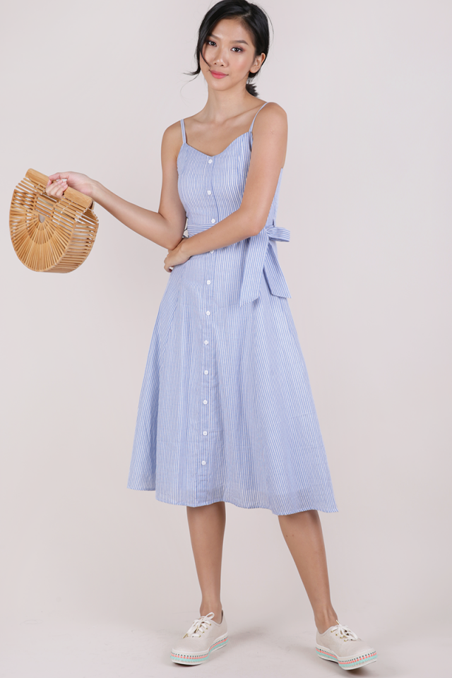 Izzy V Neck Midi Dress (Light Blue Stripes)