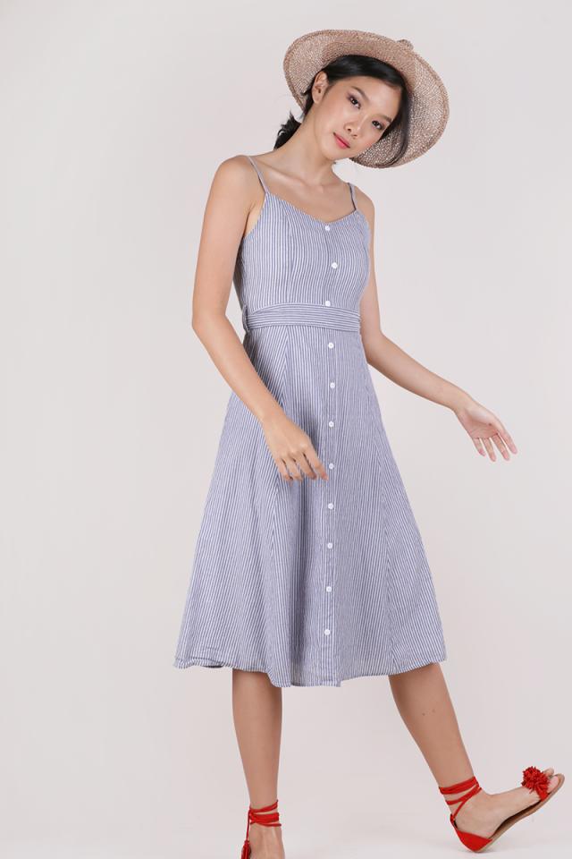 Izzy V Neck Midi Dress (Dark Blue Stripes)