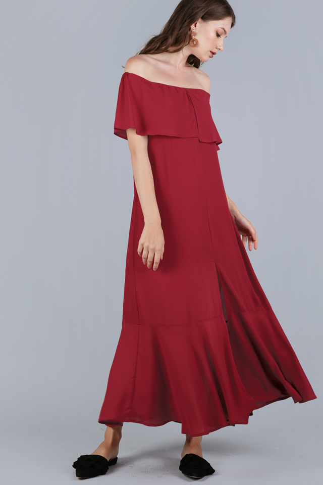 Mila Off Shoulder Dress (Cherry)