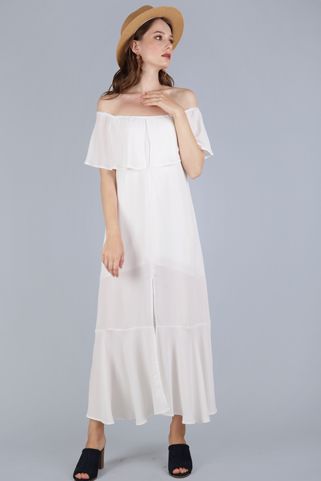 Mila Off Shoulder Dress (White)