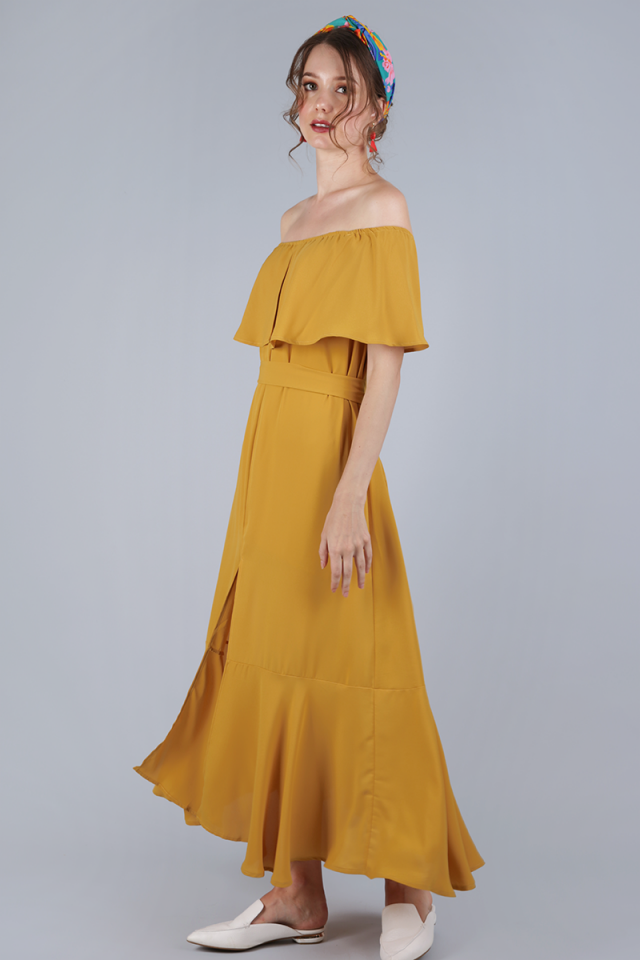 Mila Off Shoulder Dress (Marigold Yellow)