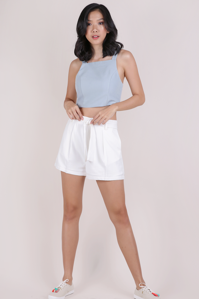 Heidi Cropped Top (Dusty Blue)