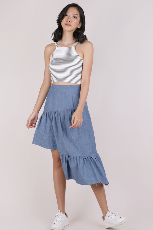 Essie Asymmetrical Distressed Hem Skirt (Mid Blue)
