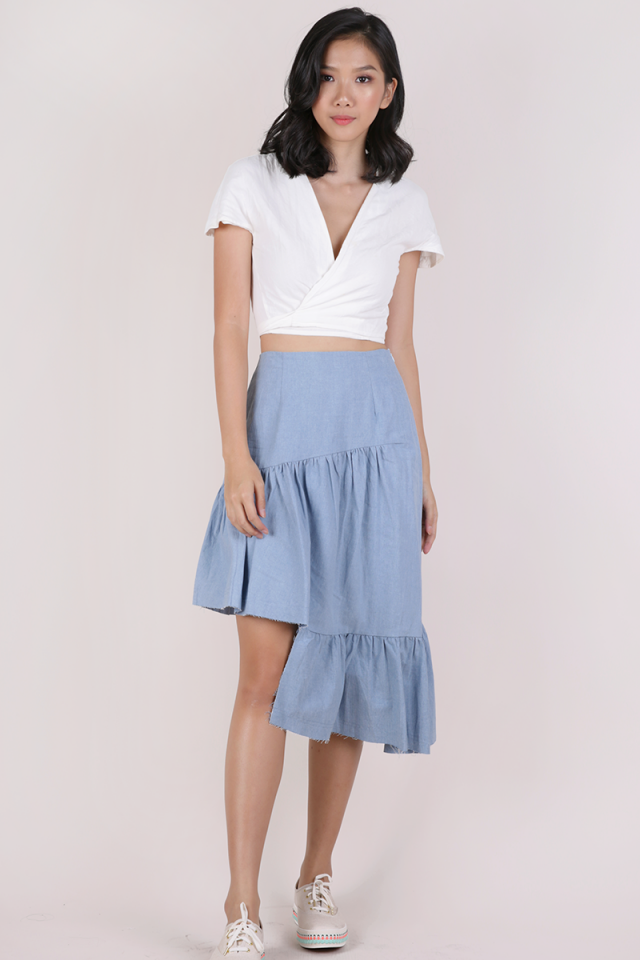 Essie Asymmetrical Distressed Hem Skirt (Light Blue)