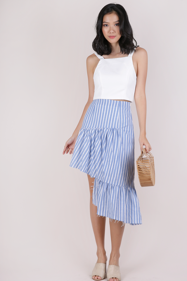 Essie Asymmetrical Distressed Hem Skirt (Stripes)