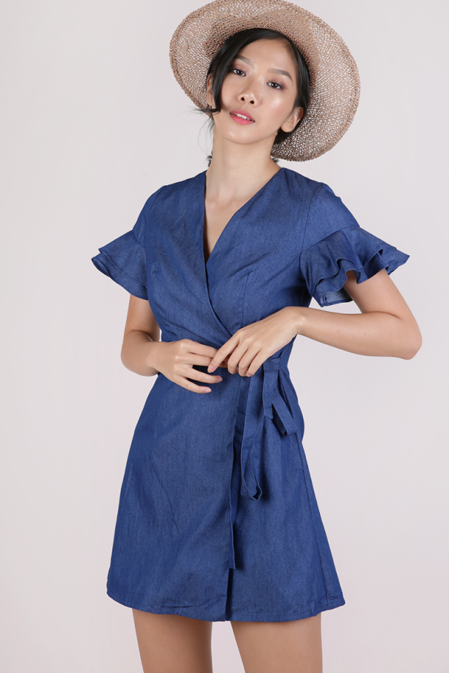 Paulina Wrap Front Dress (Dark Blue)