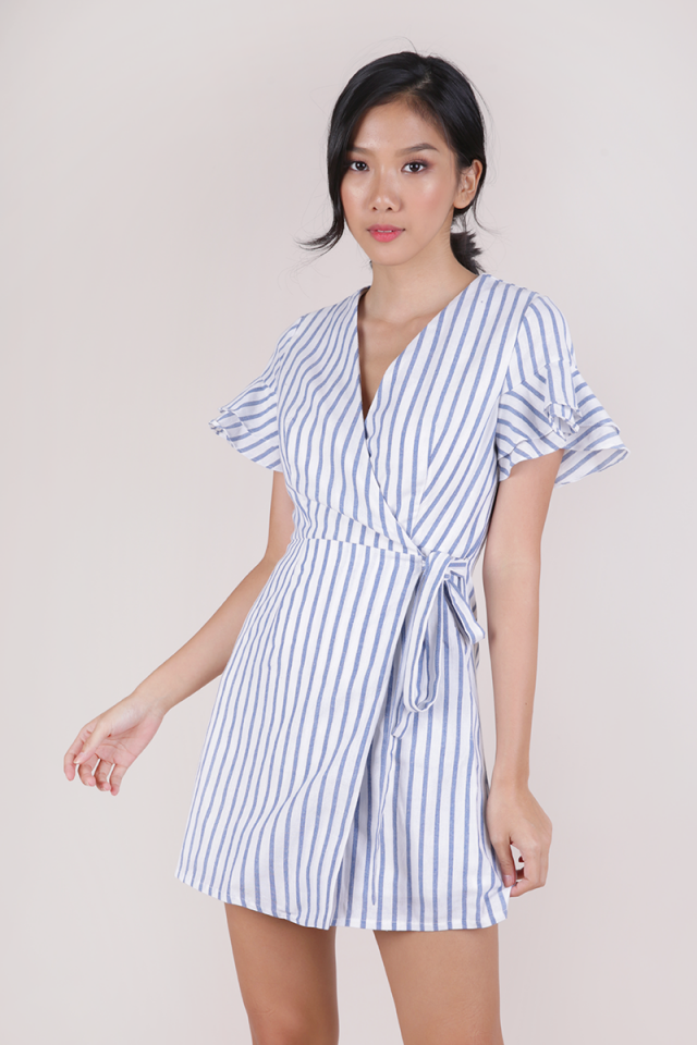 Paulina Wrap Front Dress (White Stripes)